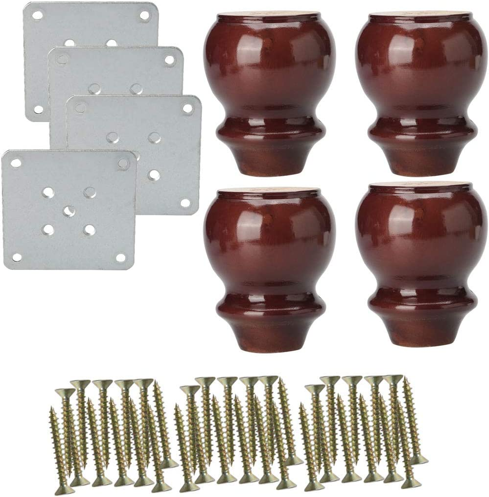 uxcell 4 Inch Solid Wood Furniture Legs Sofa Couch Chair Closet Cabinet Feet Replacement Adjuster Set Of 4