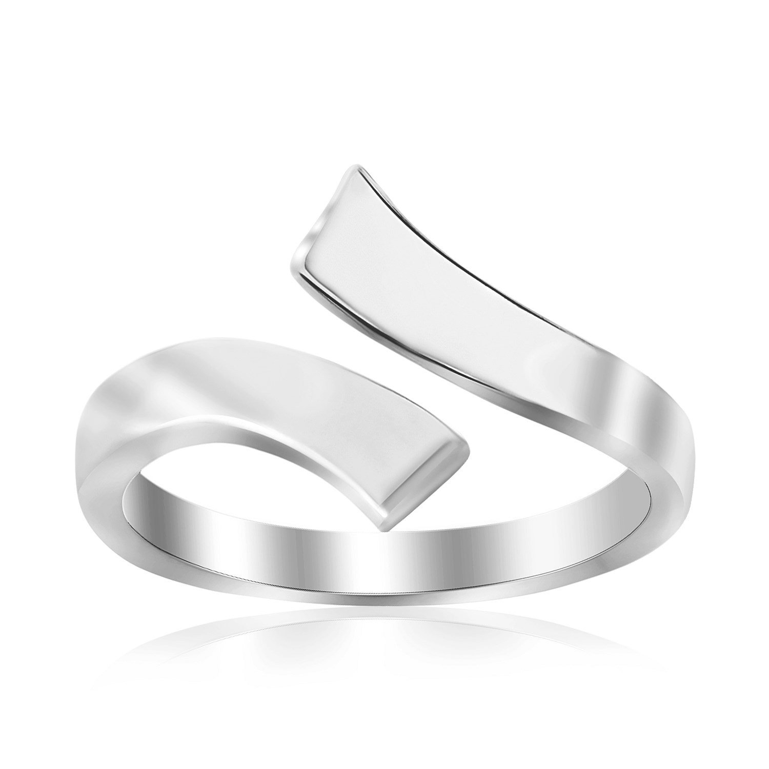 Jewels By Lux Sterling Silver Rhodium Plated Overlap Style Polished Toe Ring by Jewels By Lux