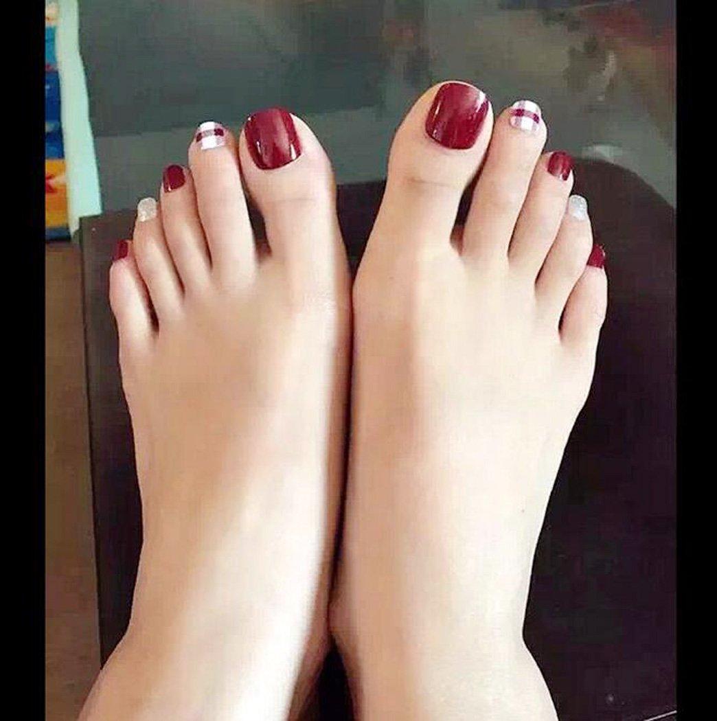 Amazon.com : Yean False Toes Nails 24Pcs/Set Fake Toe Nails Bridal ...