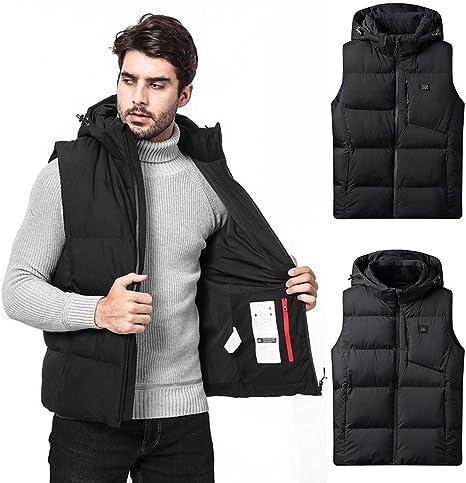YUELANDE Men Sleeveless Quilted Winter Hoodie Plus Size Zip Front Down Vest Jacket
