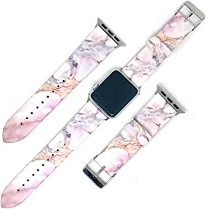 Replacement Band Compatible with iWatch 42mm/44mm Natural Purple Marble PU Leather Strap Wrist Compatible for Apple Watch Series 3 Series 2 Series 1 Sport Edition Nike+