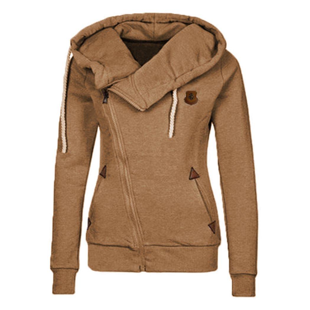 XWDA Zipper Hoodie Women High Collar Long Sleeve Jacket Casual Warm Plus Size Coat 1074