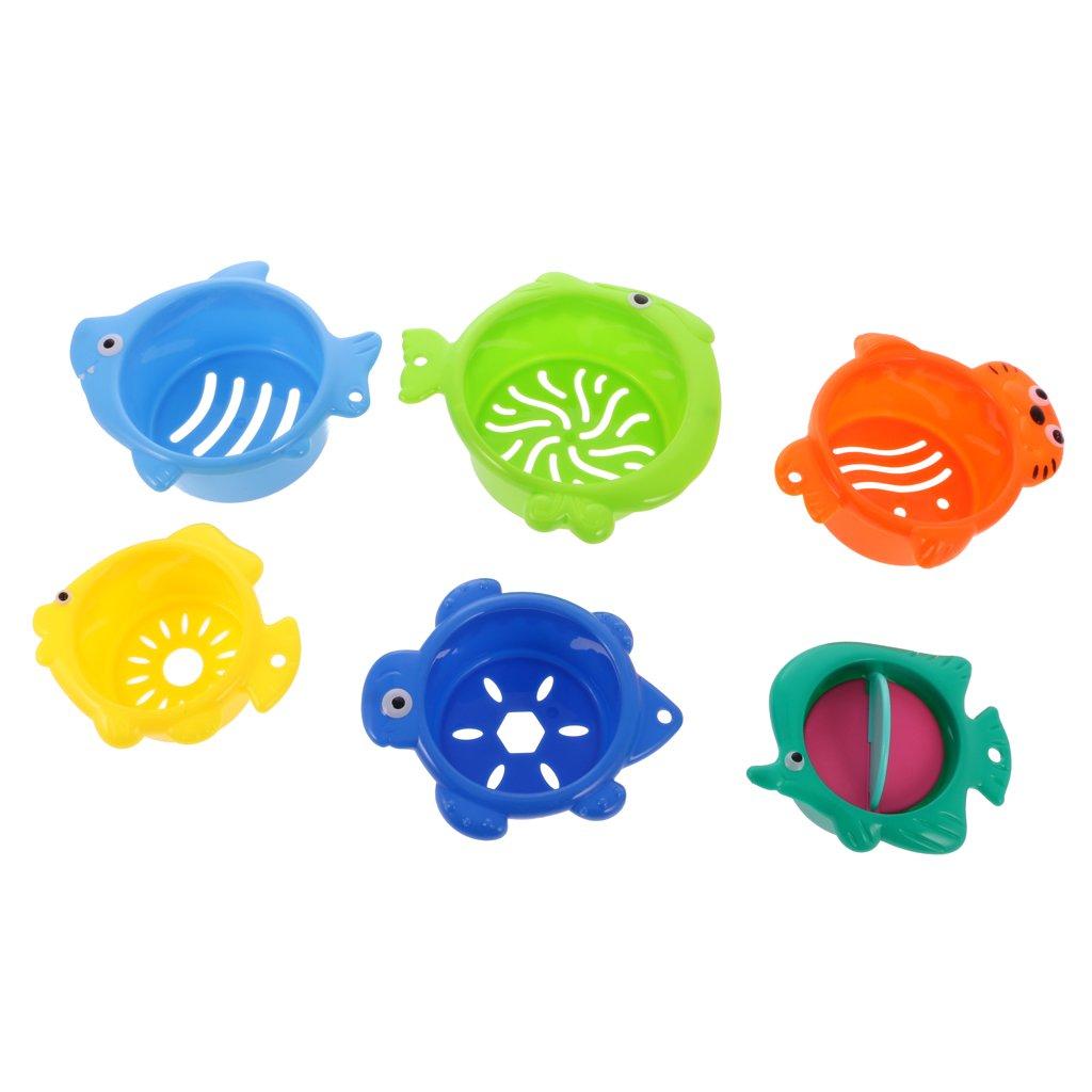 MagiDeal Juguete de Bañera Plástico Plegable Apilamiento de Copa de Bebé Niños Baño Lindo Juguetes - # 1