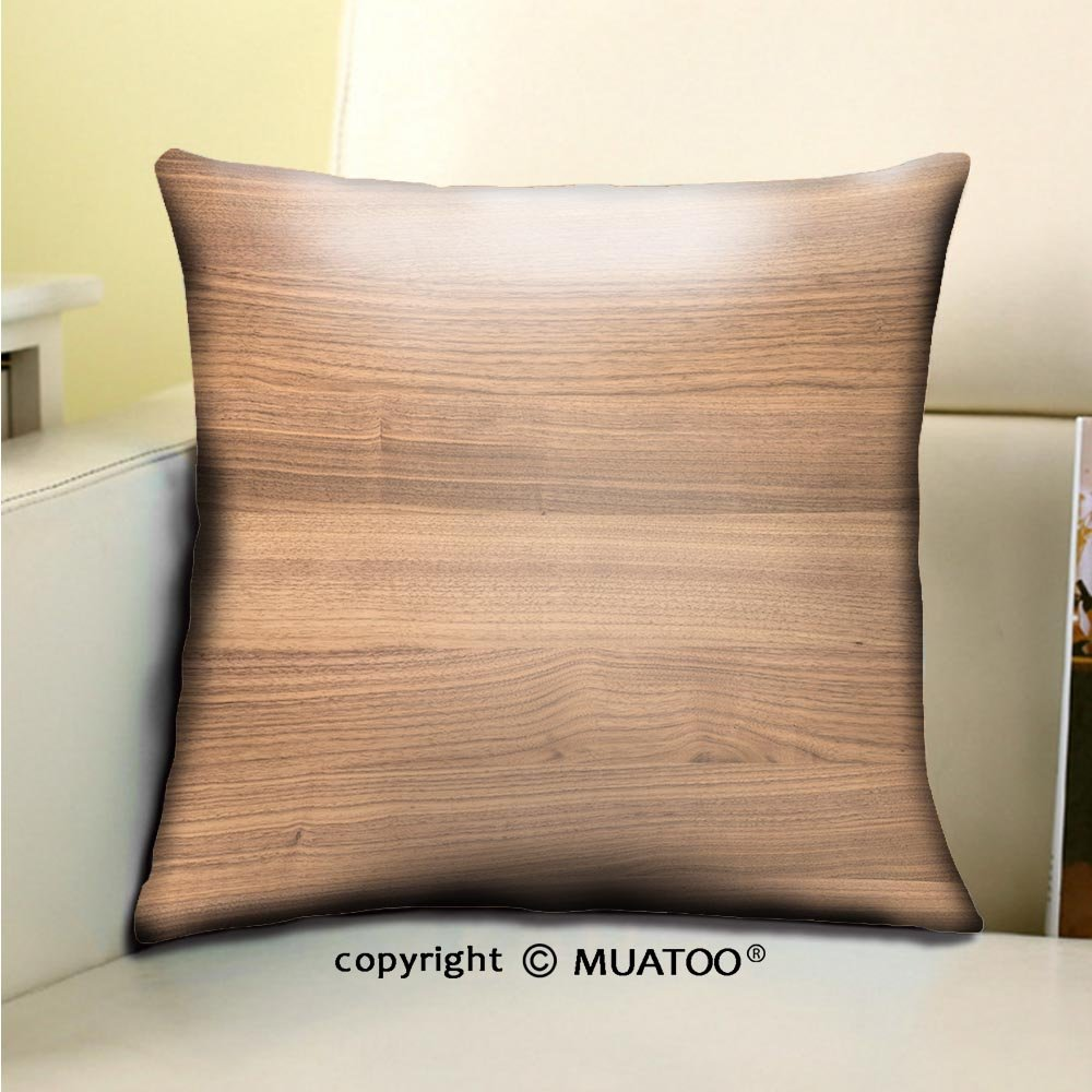 PleayeL Soft Canvas Throw Pillow Covers Cases for Couch Sofa -background and texture of walnut wood decorative furniture surface Print 18'' x 18''(45 x 45 cm)
