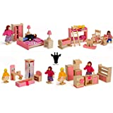 Wood Family Doll Dollhouse Furniture Set, Pink Miniature Bathroom/ Kid  Room/ Bedroom/