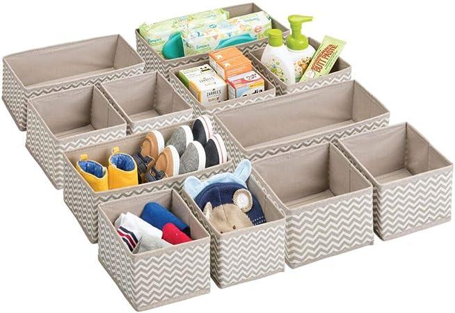 mDesign Juego de 12 cajas organizadoras para el cuarto de los niños - Organizadores para armarios para artículos de bebé - Caja para organizar juguetes, pañales o medicinas - Topo/natural: Amazon.es: Hogar