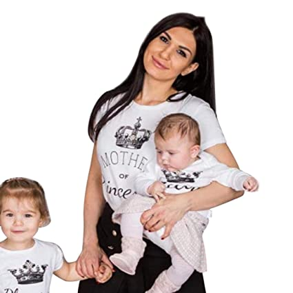 LUCKDE Partnerlook Mutter Sohn, Bluse Damen Strampler Junge Overall Baby Jumpsuit Kinder Schlafanzug Kurzarmbluse Strandtunik