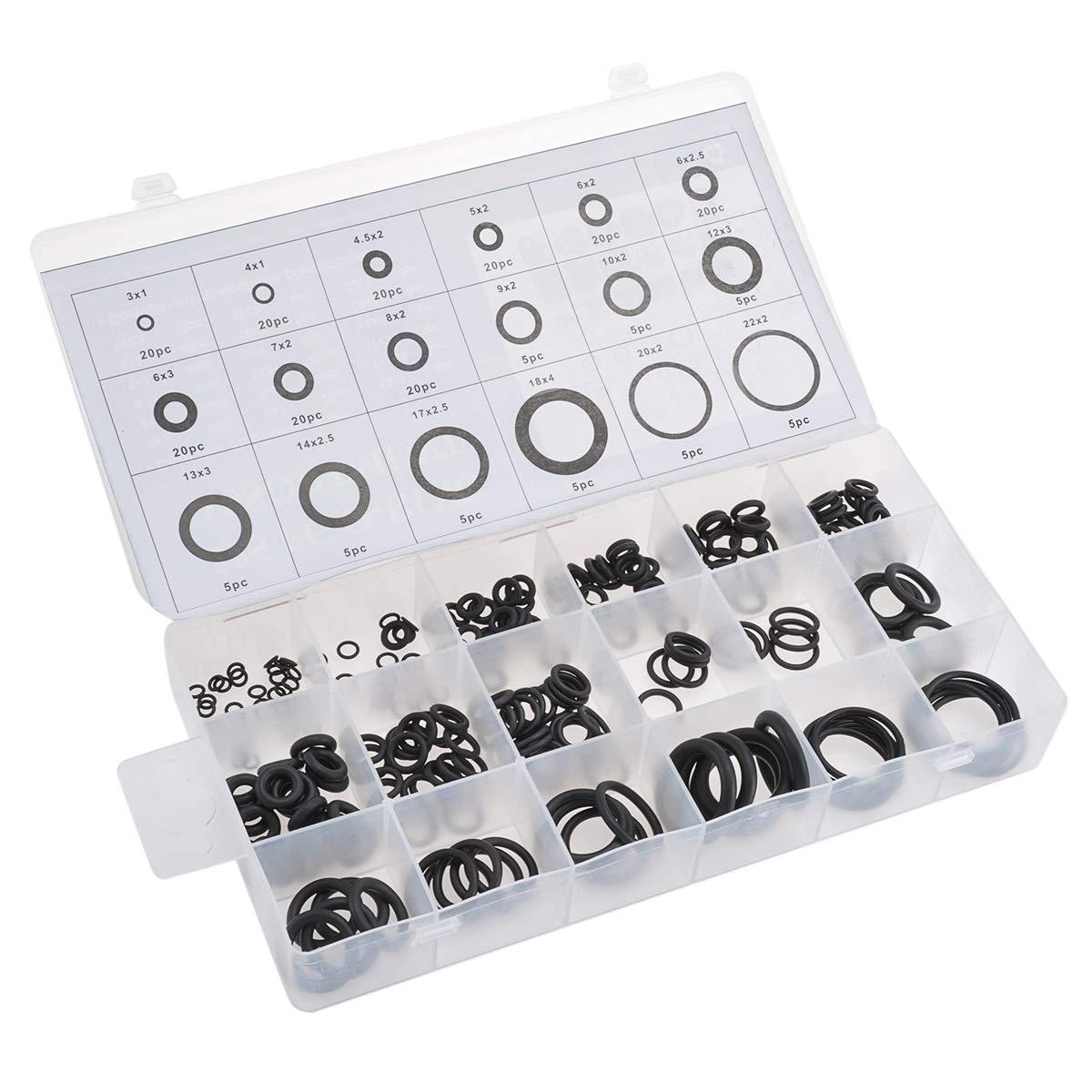 Assortimento universale di anelli O-Ring in gomma nera per lavori idraulici automotive riparazioni generali Katur 18 misure 3-22 mm di diametro interno 225 pezzi