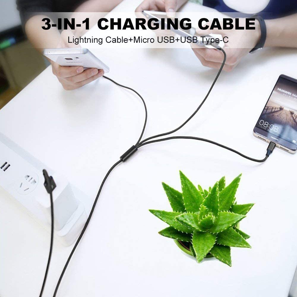 Akiimy 2 Packs 6FT Multi Charger Cable 3 in 1 Charging Cable Multiple USB Cord Universal Charging Cord Compatible with Phone XS MAX//XR//8 Plus//Galaxy Note 10//Note 9//S10//S9 With 4 USB Clip Car Charger