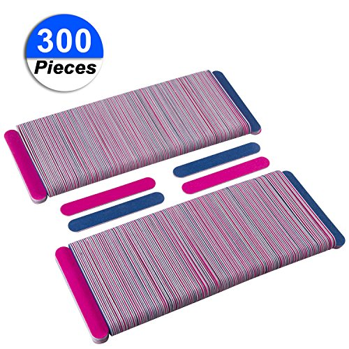 300 Pack Disposable Nail Files Double Sided Emery Boards Manicure Pedicure Tools - Home or Professional Boards Manicure Tools by waloden