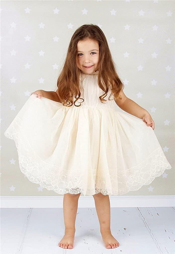 8ec92a09e Amazon.com: Bow Dream Ivory Off White Lace Vintage Flower Girl's Dress:  Clothing