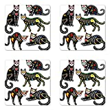 Ambesonne Sugar Skull Coaster Set of Four, Calavera Inspired Ornate Black Cats Mexican Style Holiday The Day of The Dead, Square Hardboard Gloss Coasters for Drinks, Multicolor
