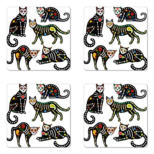 Ambesonne Sugar Skull Coaster Set of Four, Calavera Inspired Ornate Black Cats Mexican Style Holiday The Day of The Dead, Square Hardboard Gloss Coasters for Drinks, Multicolor by Ambesonne