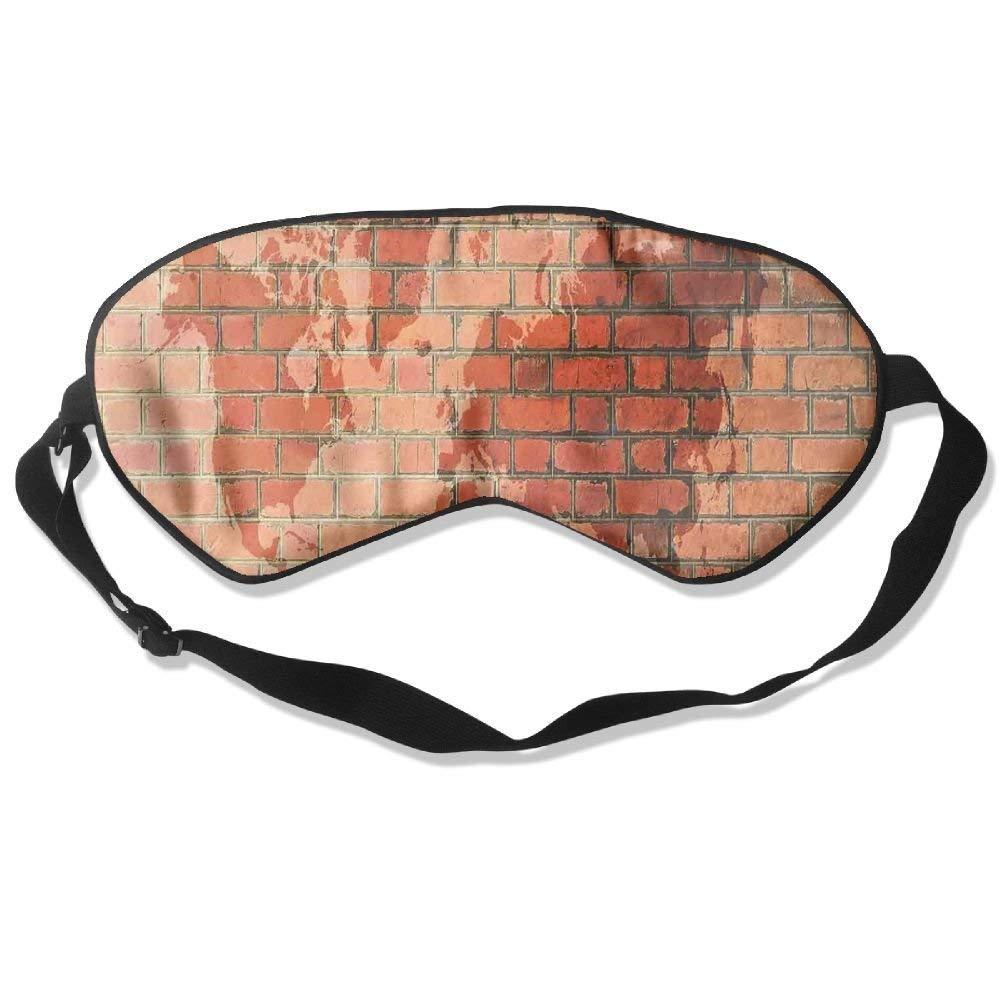 BetterStory Brick Wall with World Atlas Map Reflection Pattern Contemporary Artful Scene Adjustable Sleeping Eyes Mask Shading Sleep Mask