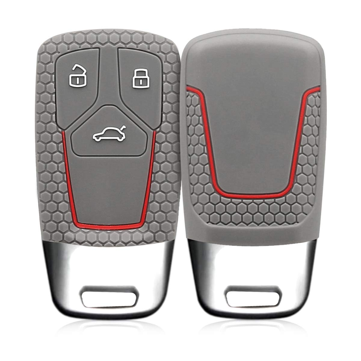 Black kwmobile Car Key Cover Compatible with Audi 3 Button Car Key Smart Key only Keyless Go - Silicone Protective Key Fob Cover
