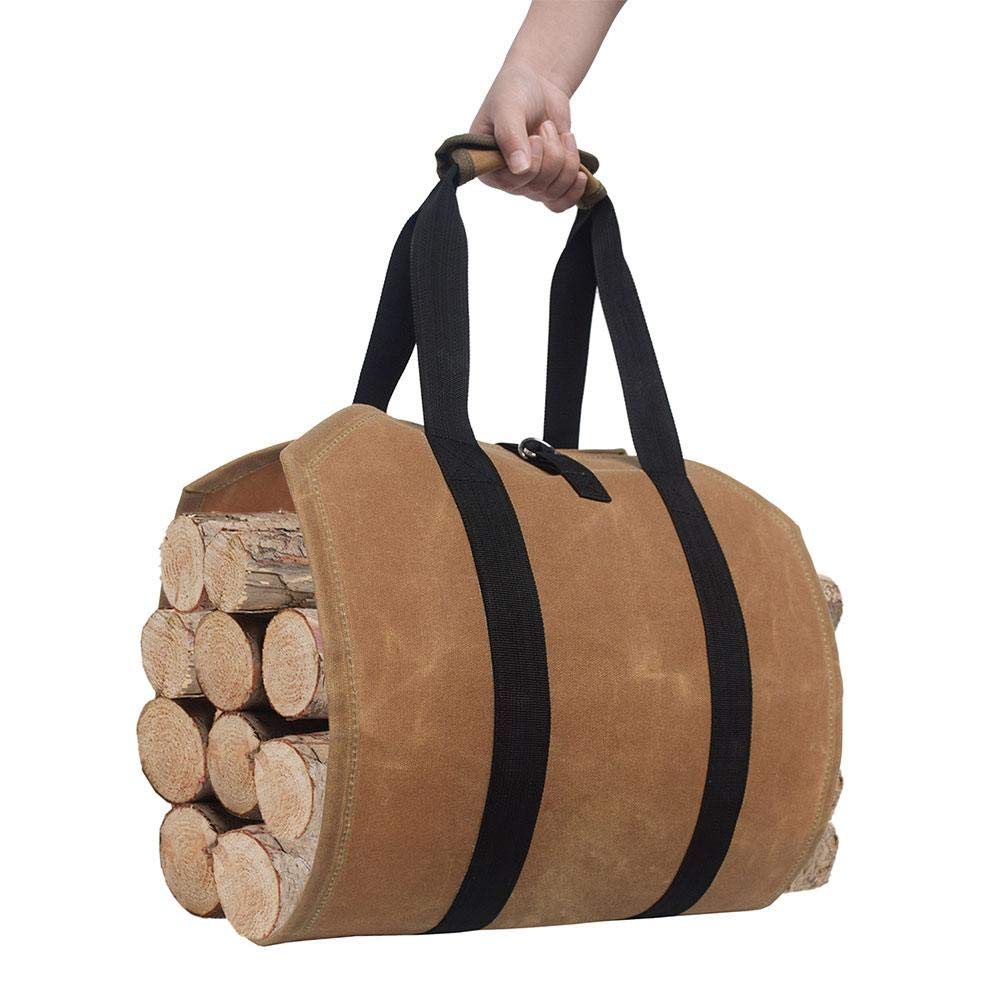 SMASAMDE Canvas Log Carrier Bag, Wax Canvas Log Carrier Tote Bag, Large Capacity Heavy Duty Durable Tote Bag for Wood, Felt Wooden Bag Canvas Storage Bag by SMASAMDE