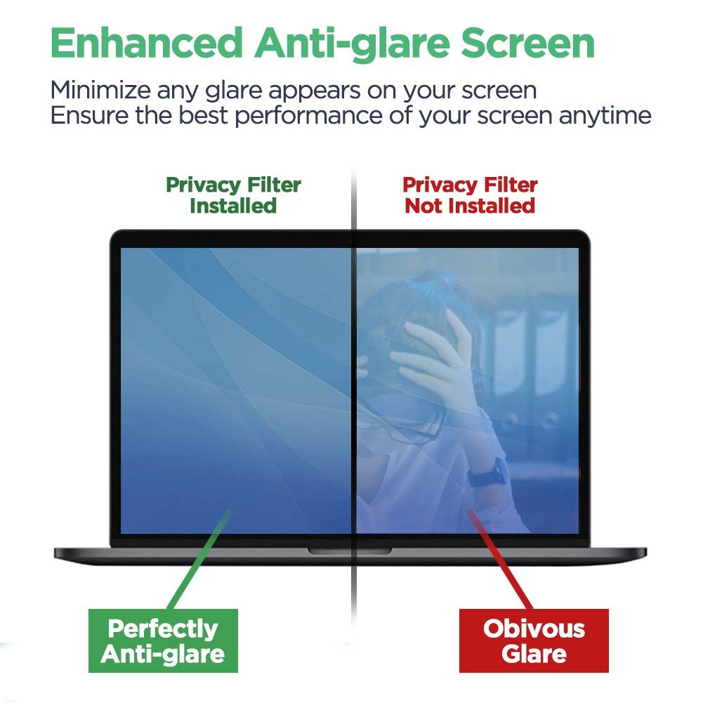 Privacy Screen Filter 14''- Information Protection Privacy Filter for Laptop - Anti-Glare, Anti-Scratch, Blocks 96% UV - Matte or Gloss Finish Privacy Screen Protector - 16:9 (14 inch) by Hunsuetek (Image #4)