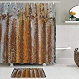 AmyNovelty Fabric Shower Curtain and Mats Set,Rust Tin Design,Waterproof Bath Curtains with 12 Hooks,Non Slip Rugs