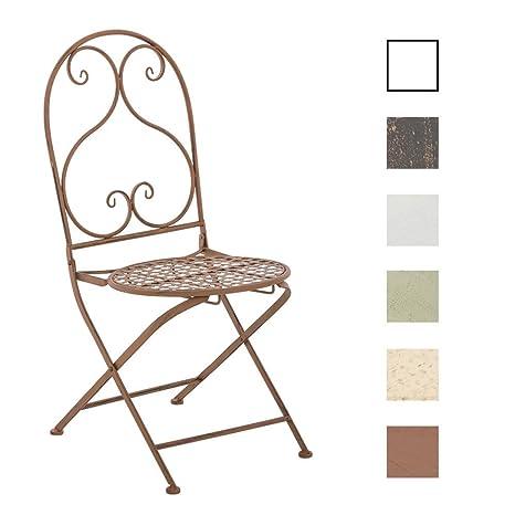 CLP Silla de Jardín Plegable Vahan I Silla de Exterior Plegable en Hierro I Silla de Exterior en Estilo Rústico I Color: Marrón Envejecido