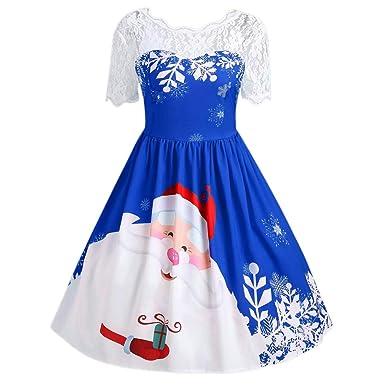 da14f590b57 Vovotrade Women Vintage Christmas Dress Ladies Sexy Lace Patchwork Dress  Women Christmas Santa Claus Short Sleeve