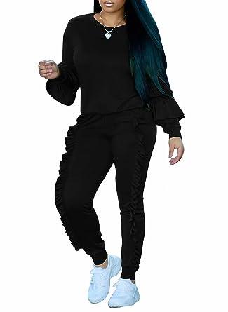 2bd5484d6d8 FOUNDO Women 2 Piece Ruffles Sweatshirt Top Bodycon Pant Clubwear Tracksuit  Set Black S
