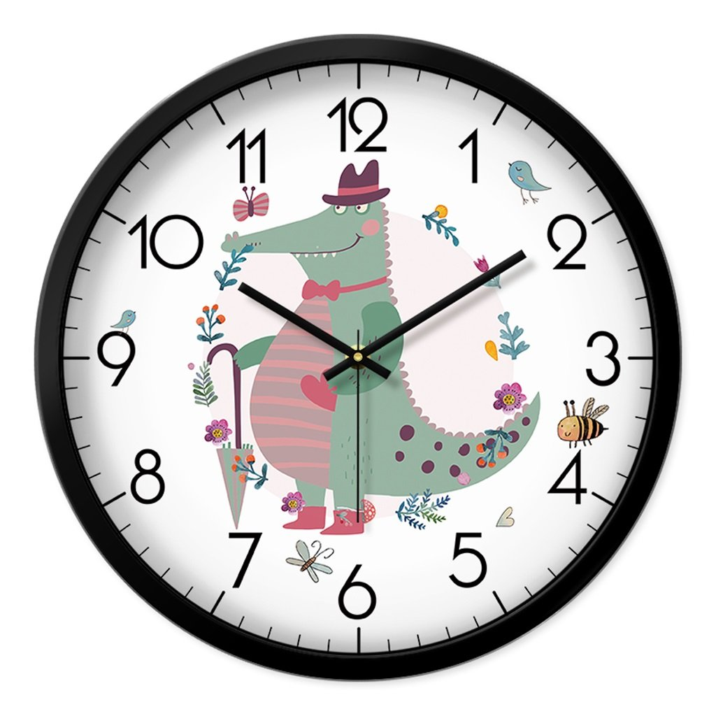 Unbekannt FANJIANI Cartoon Mute Wanduhr Wohnzimmer Schlafzimmer Persönlichkeit Nette Uhr Kinderzimmer Stumm Wanduhr Kreative Quarzuhr Uhr Hängende Tabelle (Farbe : Schwarz, größe : 12 Zoll)