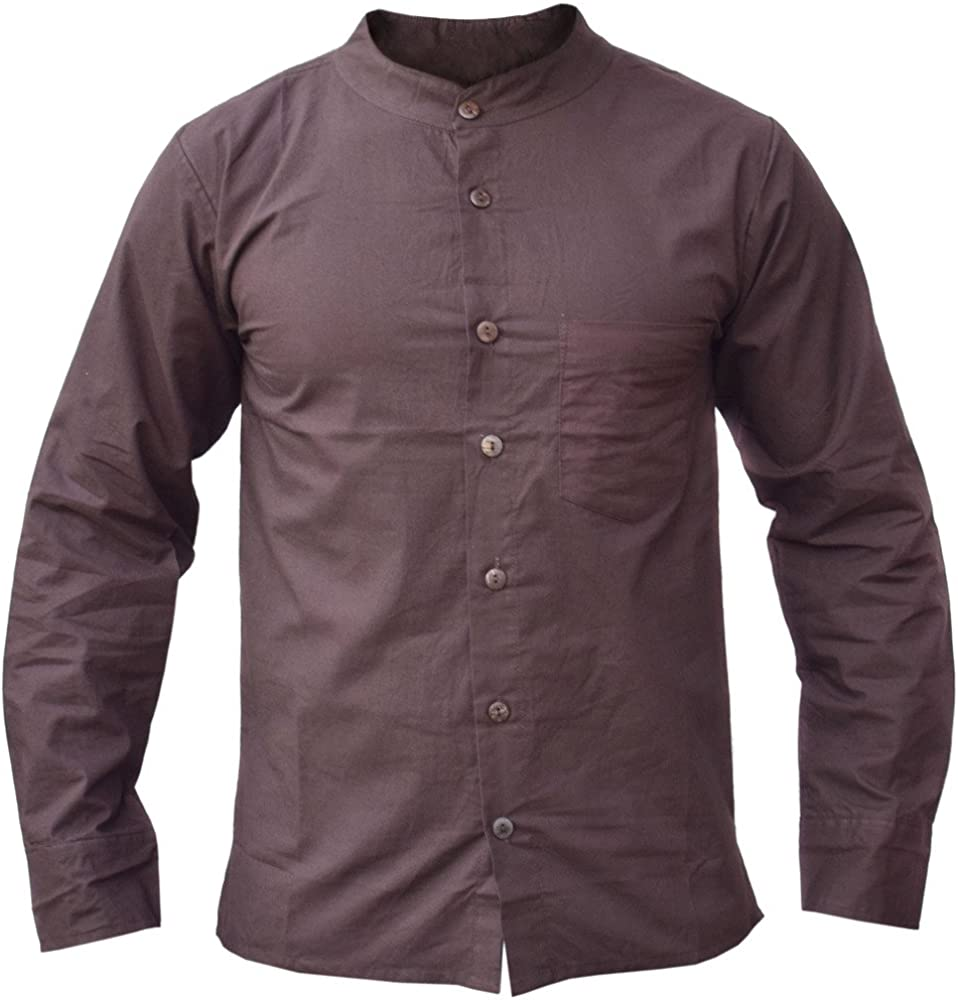 Little Kathmandu - Camisa de verano para hombre (lino y algodón), color marrón: Amazon.es: Ropa y accesorios