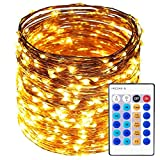Copper Wire Lights Decorative Fairy Lights - 99Ft 300 LED with 24-Key Controller Dimmable Christmas Waterproof Twinkle Lights, for Wedding Party Home Gazebo Patio Garden Indoor&Outdoor(Warm White)