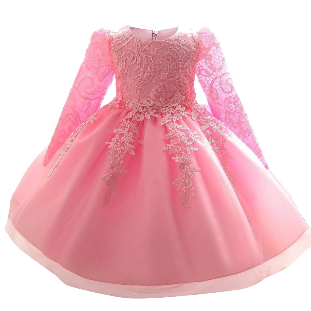 Mallimoda Girl's Lace Tulle Flower Princess Wedding Dress Toddler Baby Girl Long Sleeve Pink 3Y by Mallimoda