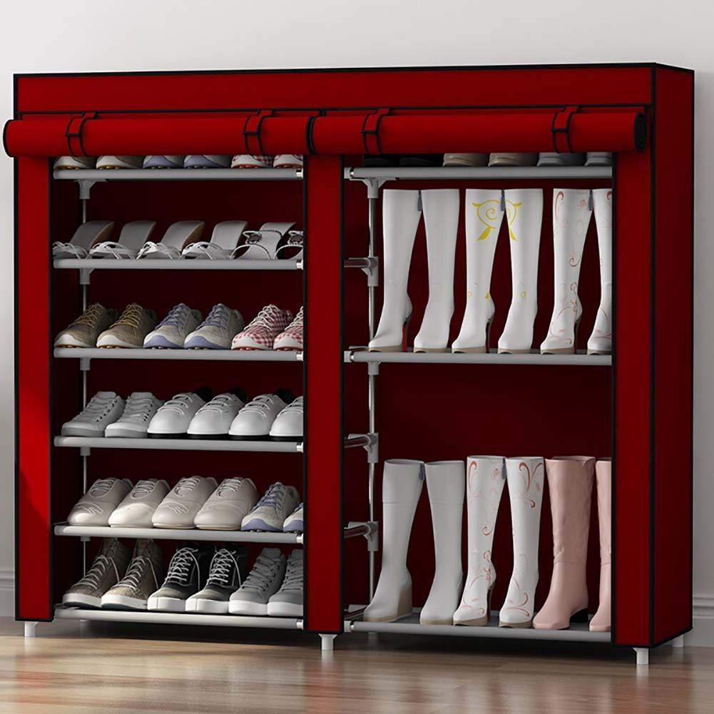 Schuhregal_zweireihig 7 Etagen 30 Paar Tragbarer Schuhschrank Speicherorganisator StiefelstäNder,Wohnzimmer, Schlafzimmer, Schlafsaal Schuhregal (Kaffee/Rot / Grau)