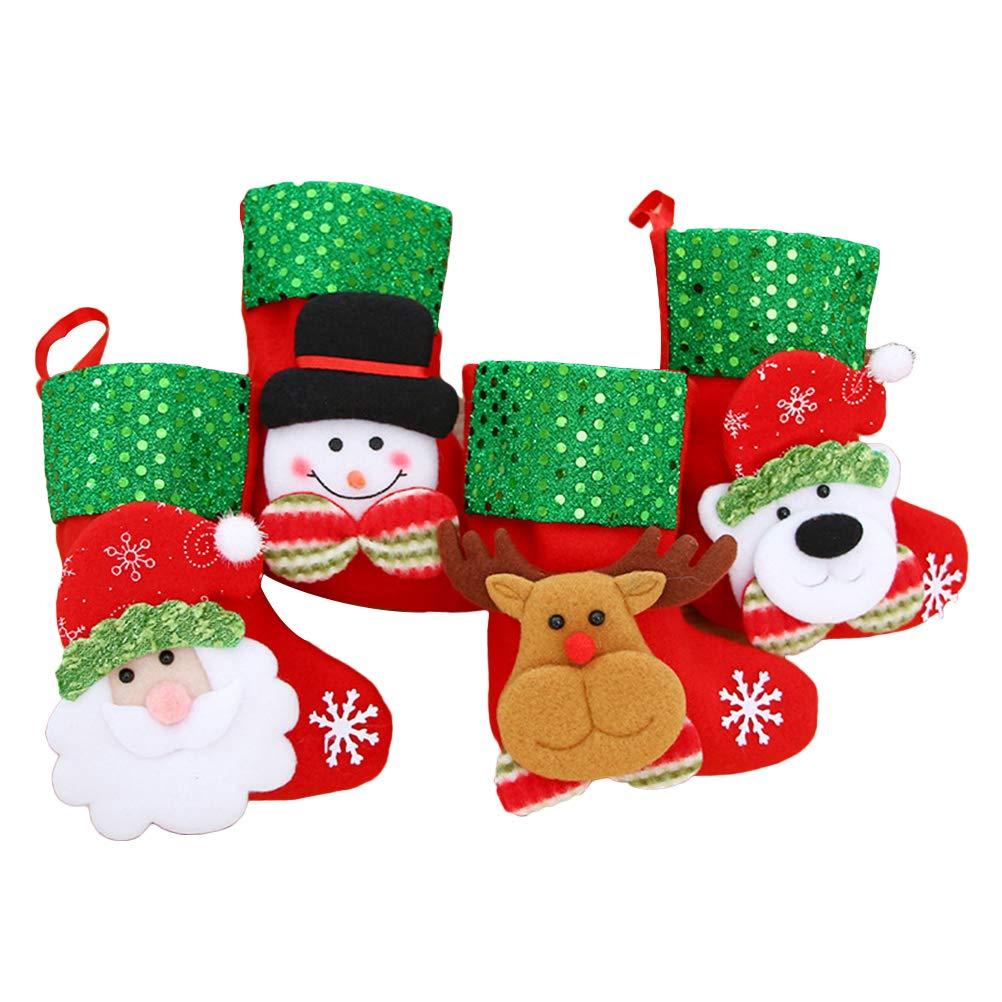 HEALIFTY 4pcs Mujeres Niñas Niños Navidad Calcetines Novedad Navidad Elk Papá Noel Calcetines de Algodón para Unisex