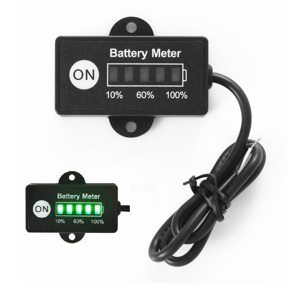 Searon Mini 12V 24V LED Battery Indicator Gauge Meter for Motorcycle Golf Carts Car Marine ATV