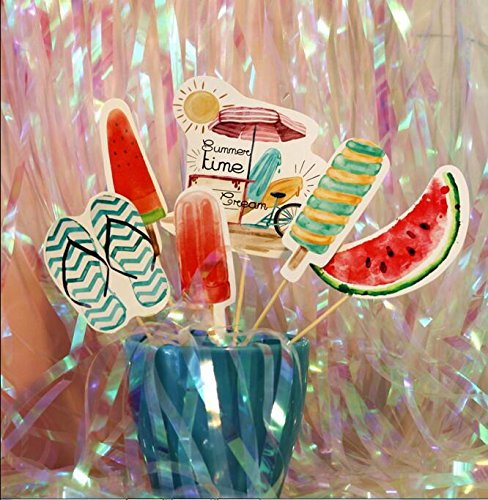 Maydolbone Set of 24 Tropical Hawaii Theme cupcake toppers and Wrappers Hawaii Luau Party Supplies