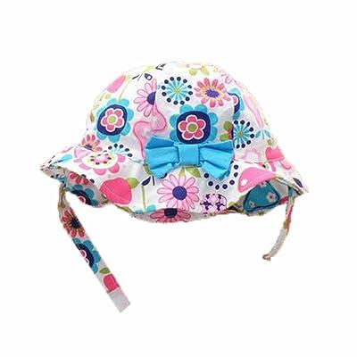 été bébé Fille Casquettes Coton Chapeau de soleil 2-3 ans Bébé Bleu Arc
