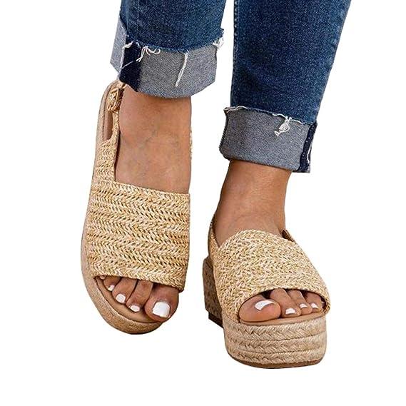 Été Talon Romaines Chaussures Compensé Mode Espadrille Manooby Sandales Voyage Sandals Casual Femmes Plateforme 76YbgmyIfv