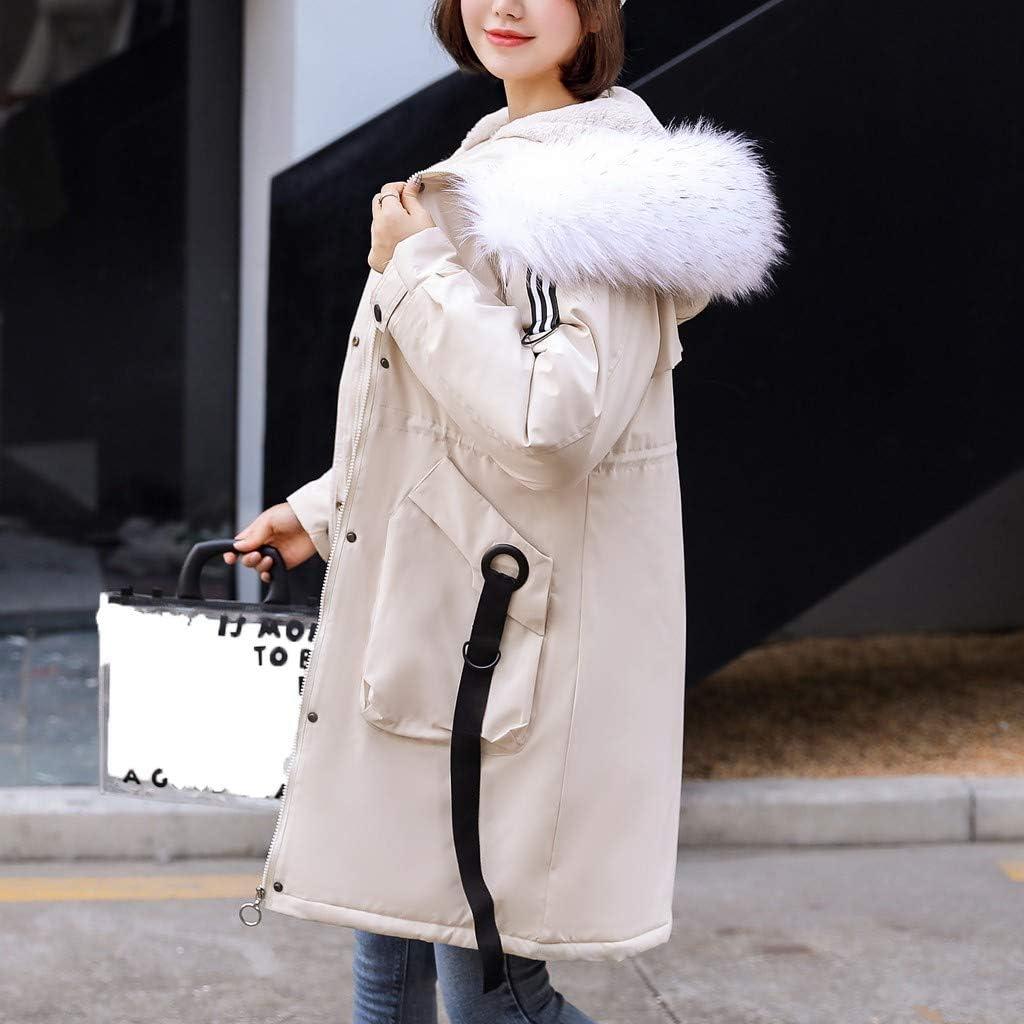Manteau Femme Hiver Long Elegant,Femmes l'hiver Chaud Épais Vêtements D'extérieur Encapuchonné Manteau Svelte Coton Veste Blouson Hiver Femme Chaude Veste Femme Chic Blanc