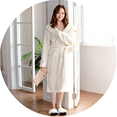 Image Unavailable. Image not available for. Color  Winter Flannel Hooded  Robes Women Sexy Long-Sleeve Thicken Warm ... 91780f414