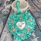 bgblgf M Wedding Ring Pillow Cushion Sun Flower Cloth Flowers Ring Box Ring Pillow, green, 1818cm