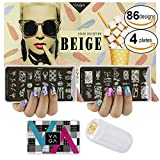 VAGA Stamper, Nail Polish Scrapers and Images Stamping Metal Plates for Manicure Designs Transferring as Nail Art Supplies Set