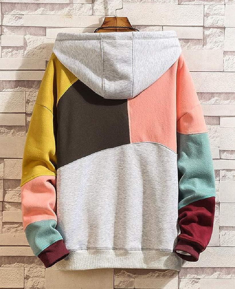 Cromoncent Mens Long Sleeve Loose Hooded Color Block Pocket Sweatshirts