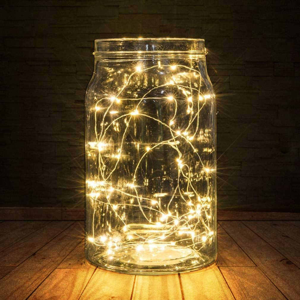 BXROIU 2 x 50er Micro LED Lichterkette AA Batterie betrieb und 2 Programm Auf 5 Meter Silberdraht für Party, Garten, Weihnachten, Halloween, Hochzeit, Beleuchtung Deko(Warmweiß)