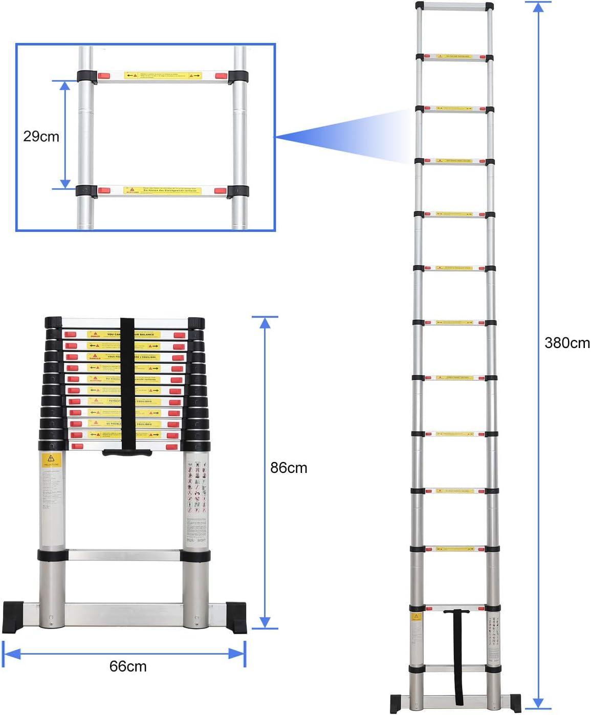 Sotech - Escalera Plegable, Escalera Telescópica, 3,8 Metro(s), Bolsa de transporte GRATIS, Barra estabilizadora, EN 131, Carga máxima: 150 kg, Estándar/Certificación: EN131: Amazon.es: Hogar