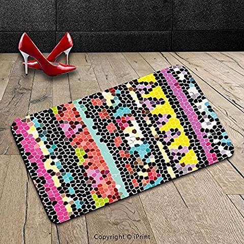 Custom Machine-washable Door Mat Abstract Indian Style Colorful Pattern with Mosaic Geometric Shapes Retro Ethnic Artwork Multicolor Indoor/Outdoor Doormat Mat Rug - Mosaic Outdoor Rug
