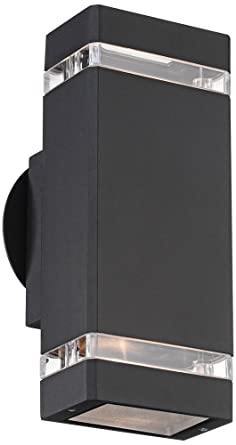 Possini Euro Rectangular Black Up/Down Outdoor Wall Light