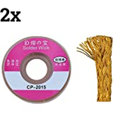 TOOGOO(R) 2pcs 2.0MM Solder Wick Remover dessoudage Braid fil Sucker cable fluxees Flux