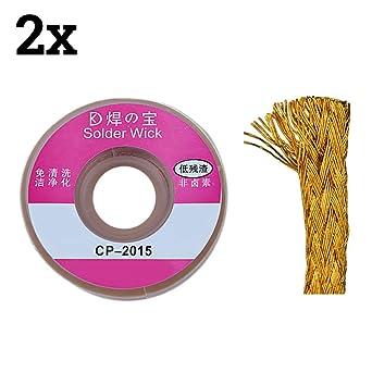 TOOGOO(R) 2pcs 2.0mm Solder Wick Remover desoldar trenza de alambre lechon cable