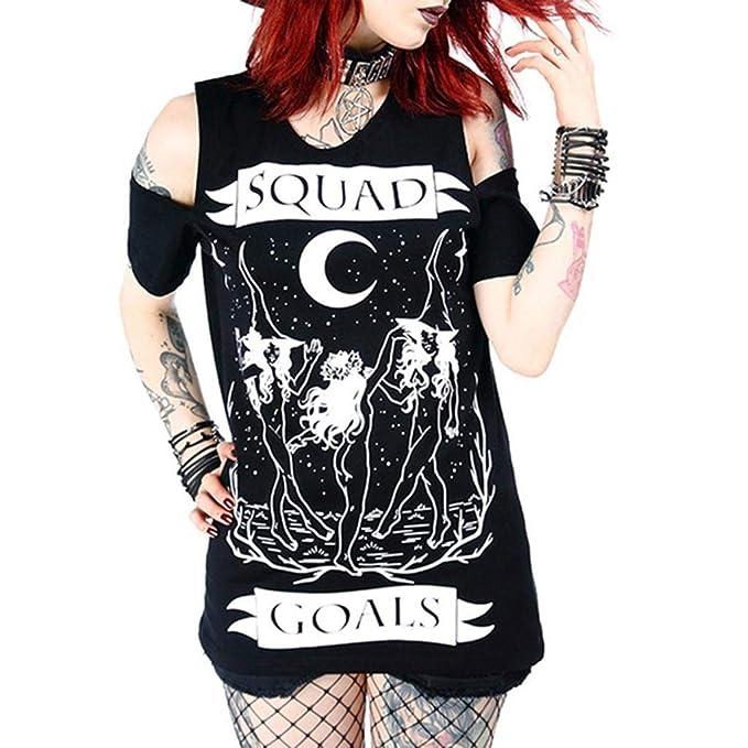 Camiseta de Manga Corta para Mujer, Estilo gótico, Color ...