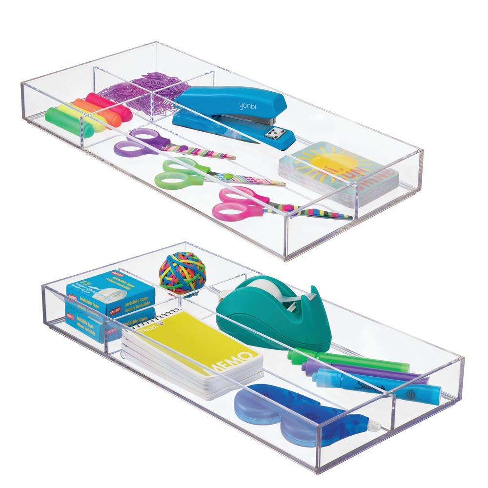 """mDesign Plastic Divided Drawer Organizer for Home Office, Desk Drawer, Shelf, Closet - Holds Highlighters, Pens, Scissors, Adhesive Tape, Paper Clips, Note Pads - 4 Sections, 16"""" Long, 2 Pack - Clear"""