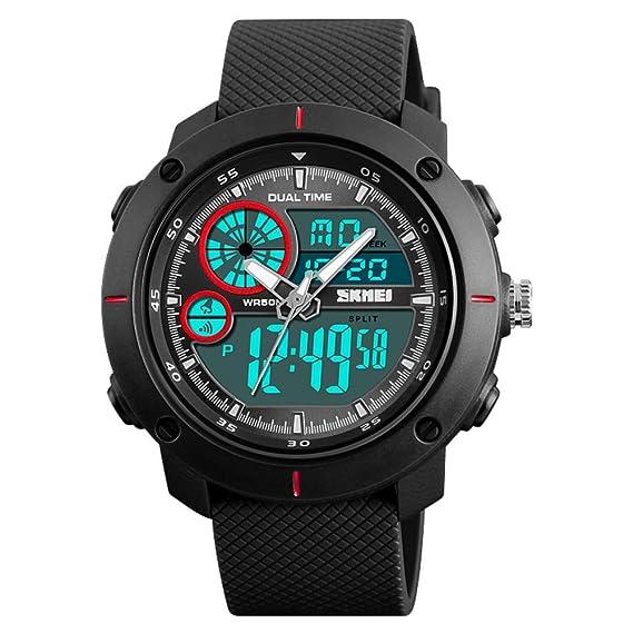 Moda Watch,Pero Estudiante Simple Impermeable Reloj Despertador Cuadrado Deportes Reloj electrónico-Rojo