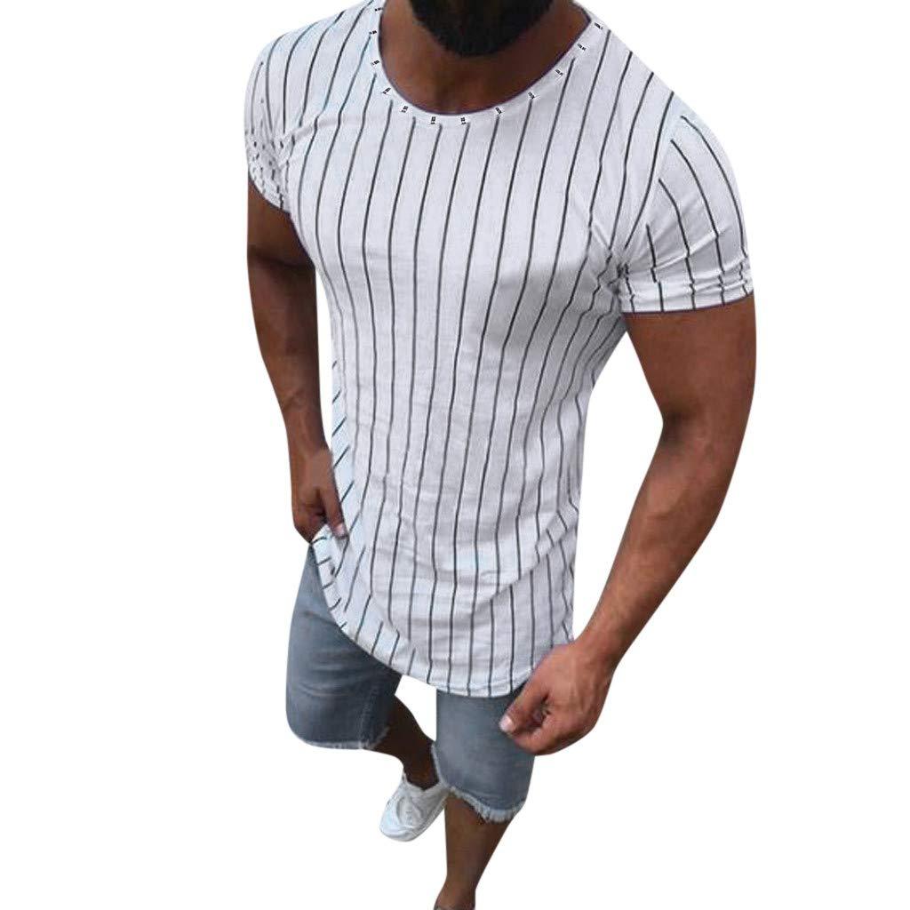 Xiloccer Fashion Men Summer Muscle Striped Print Short Sleeve O-Neck T-Shirt Tops Blouses